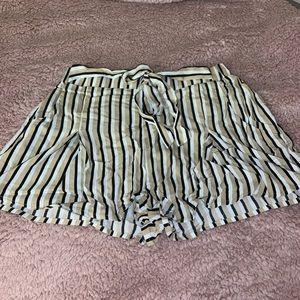 Pants - Black, White, Tan Striped Shorts